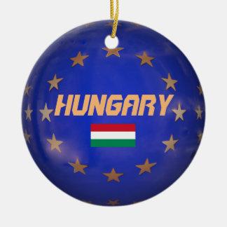 Hungary EU Flag Christmas Ornament