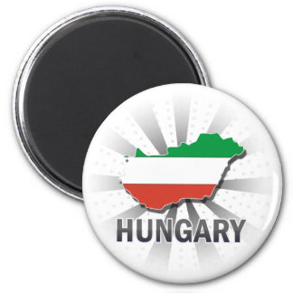 Hungary Flag Map 2.0 2 Inch Round Magnet