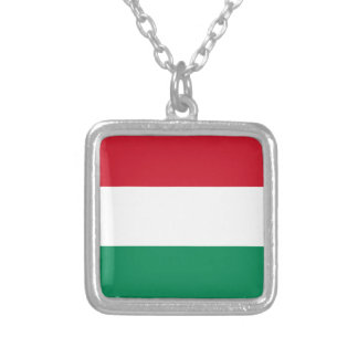 Hungary Flag Silver Plated Necklace