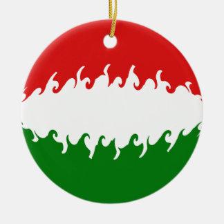Hungary Gnarly Flag Round Ceramic Ornament