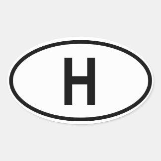 "Hungary ""H"" Oval Sticker"