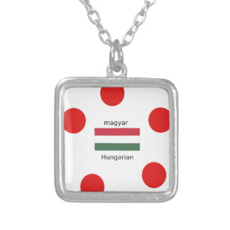Hungary Language And Flag Design Silver Plated Necklace