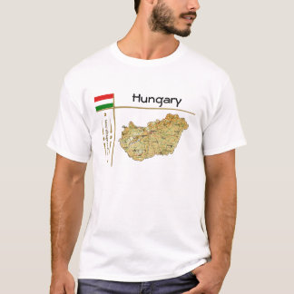 Hungary Map + Flag + Title T-Shirt
