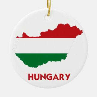 HUNGARY MAP ROUND CERAMIC ORNAMENT