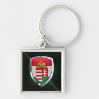 Hungary Metallic Emblem Silver-Colored Square Keychain