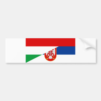 hungary serbia flag country half symbol bumper sticker
