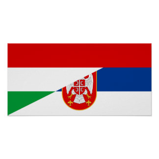 hungary serbia flag country half symbol poster
