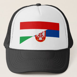 hungary serbia flag country half symbol trucker hat