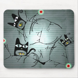 Hungry cats and doves moon sun branches mousepad