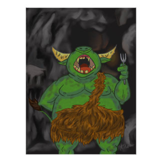 Hungry Cave Troll Poster Print
