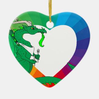 Hungry Dragon Ceramic Heart Ornament