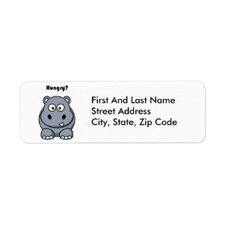Hungry Hippo Cartoon Return Address Label