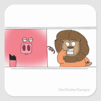 Hungry Lion Square Sticker