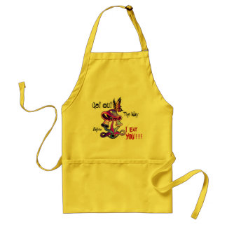 Hungry Mushroom crowded kitchen apron
