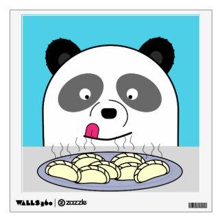 Hungry Panda looking at dumplings Wall Sticker