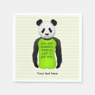 Hungry Panda Wearing A Funny Tshirt Disposable Napkin