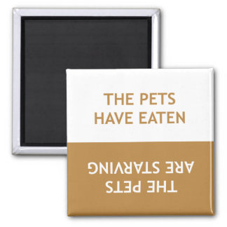 Hungry Pets Square Magnet