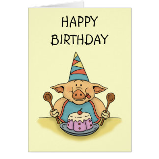 hungry piggy happy birthday card