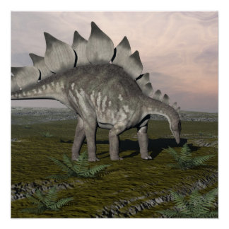 Hungry stegosaurus - 3D render Perfect Poster