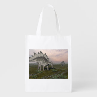 Hungry stegosaurus - 3D render Reusable Grocery Bags