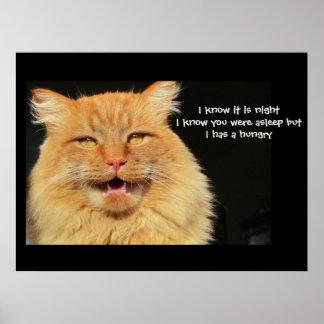 Hungry Talking Cat  haiku Poster