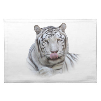 Hungry White Tiger Place Mat