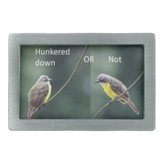 hunkered down or not bird rectangular belt buckles