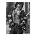 Hunky Firefighter Postcard - HOT