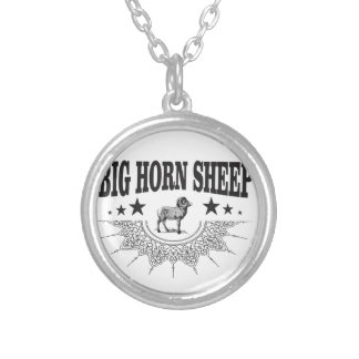 hunt big horned sheep silver plated necklace
