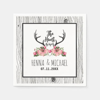 Hunt is Over Rustic Antler Barnwood Floral Wedding Disposable Napkin