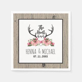 Hunt is Over Rustic Antler Barnwood Floral Wedding Napkin
