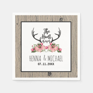 Hunt is Over Rustic Antler Barnwood Floral Wedding Paper Napkins