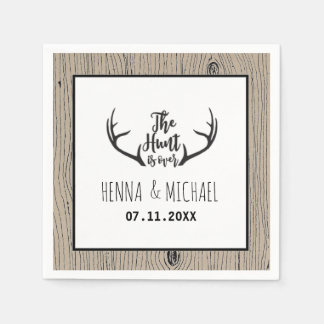 """Hunt is Over"" Rustic Antler Barnwood Wedding Paper Napkins"