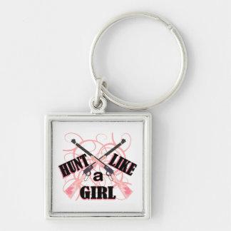 Hunt Like a Girl Pink Camo Rifle Keychain