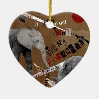 Hunt Wildlife Poachers Ceramic Heart Ornament