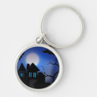 Hunted House Silver-Colored Round Keychain
