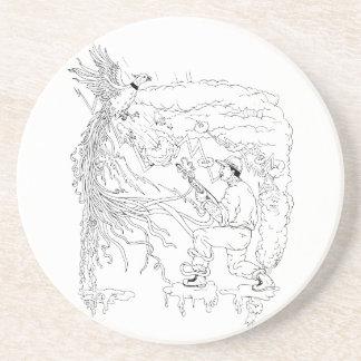 Hunter and Pheasant Ukiyo-e Coaster