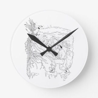 Hunter and Pheasant Ukiyo-e Round Clock
