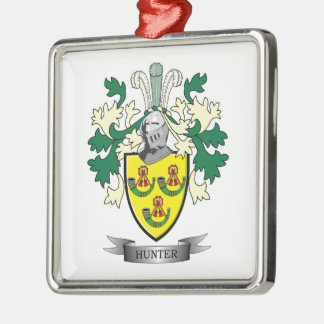 Hunter Family Crest Coat of Arms Metal Ornament