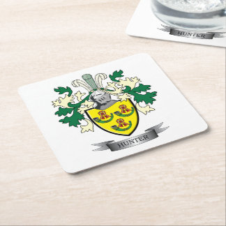 Hunter Family Crest Coat of Arms Square Paper Coaster