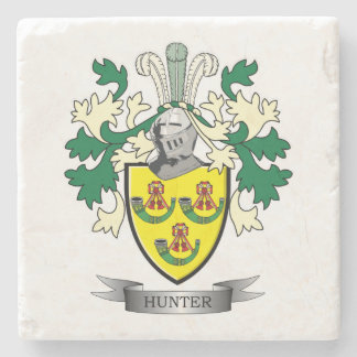 Hunter Family Crest Coat of Arms Stone Coaster