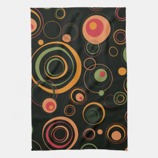 Hunter Green and Peach Playful Retro Circles Kitchen Towel
