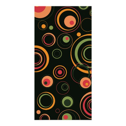 Hunter Green and Peach Playful Retro Circles Picture Card