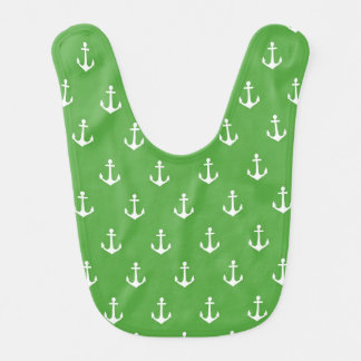 Hunter Green and White Anchor Baby Bib