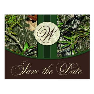 Hunter Green Monogram Camo Wedding Save the Dates Postcard