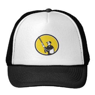 Hunter Holding Shotgun Rifle Circle Retro Trucker Hat