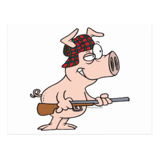 hunter hunting pig cartoon postcard