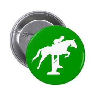 Hunter Jumper Horse & Rider (white) 2 Inch Round Button
