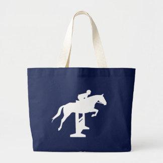 Hunter Jumper Horse & Rider (white) Jumbo Tote Bag