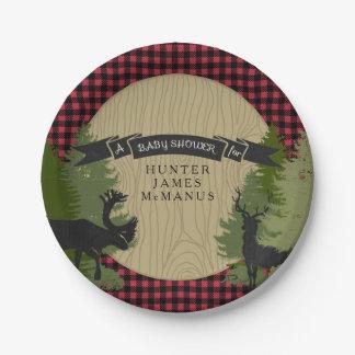 Hunter Lumberjack Forest Woodland Baby Boy Shower Paper Plate
